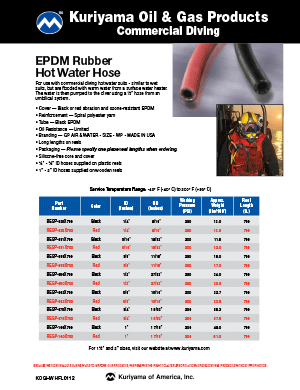 Oil & Gas Products Commercial Diving EPDM Rubber Hot Water Hose Flyer