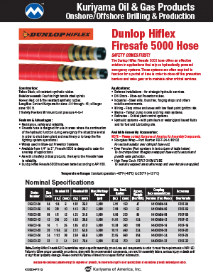 Oil & Gas Products Drilling Production Dunlop Hiflex Flyer
