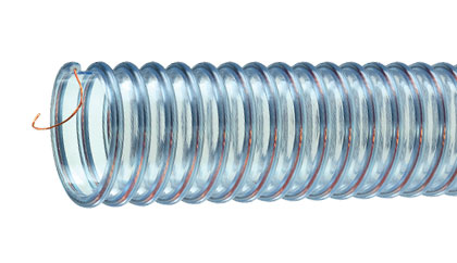 Tigerflex™ Urevac™ UVFE™ Series Food Grade Polyurethane Ducting/Material Handling Hose with Grounding Wire